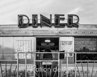 Vintage Diner, Retro Art, Kitchen Art, Miami Beach Diner, 11th Street Diner, Art Deco Photograph, Neon Sign, Classic Diner Photography Print