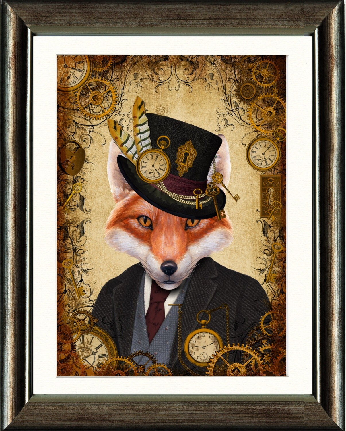 Steampunk Dandy Fox A4 Art Print Wall Art Home Decor