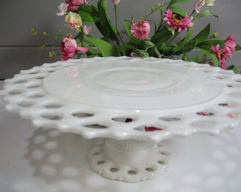 Milk Glass Cake Stand, Dorick Milk Glass Cake Plate, Dessert Stand, Wedding Tablesetting