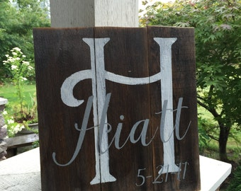 Custom name and established sign ALL PAINTED rustic wood sign