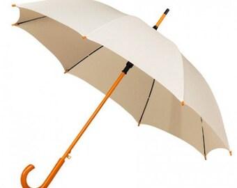 x5 Ivory Wooden handle umbrellas (package of 5 umbrellas), wedding umbrellas, wedding guest umbrellas, bridesmaid umbrellas, wedding parasol