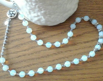 Long opalite and silver necklace