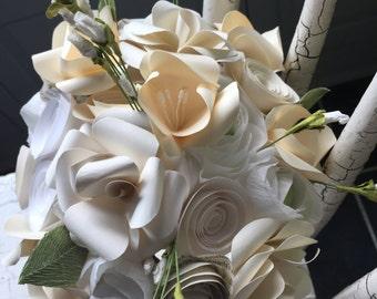 White Bridal Bouquet Paper flower Bouquet  alternative bouquet ivory and white paper flowers
