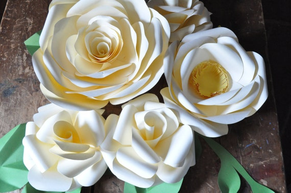 Large Paper flowers, large wedding flowers, paper flower wall, ivory wedding flowers, nursery flower wall