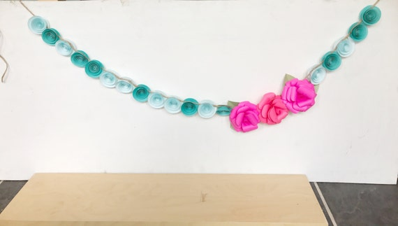 Teal and pink paper flower garland, bright paper flowers, bright weddinng garland