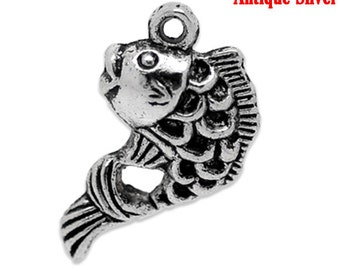 5 Pcs Antique Silver Fish Charms 12 x 20mm