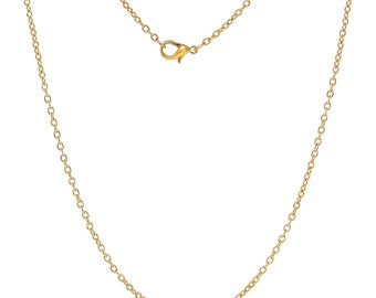 "2 Pieces 18"" Gold Plated Lobster Clasp Cable Chain Necklace"
