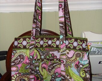 SCRAPBOOKING TOTE SALE !!  - QUILTeD  Pink Paisley- Large CRAFTs Tote Bag fits 12x12 Papers !! Crochet, Knit, Coloring Books - Anything !
