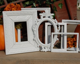 PICTURE FRAMES - Shabby Chic Frames - Painted Frames - Set Of 6  Picture Frames