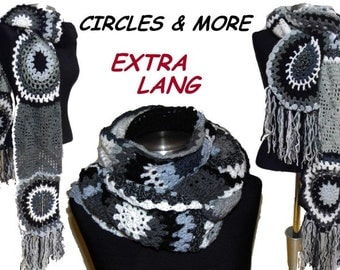 extralong crochet SCARF * Circles and More * balck & white, gray crochet SCARF