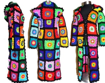 Multicolor Crochet COAT & HooDIE *Granny RainBoW FloWers to SquarE * XS-M