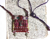 necklace - textile pendant - amulet  : the key of the garden of peonies