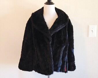 Vintage Mid Century Dark Brown Faux Fur Cape Coat