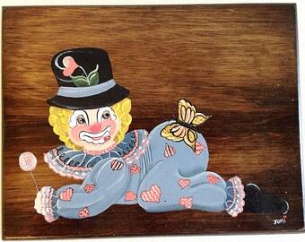 Vintage Creepy Baby Hobo Clown Art Kitsch Decor