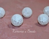 White Crackled Quartz 20mm Round Beads- Set of 5