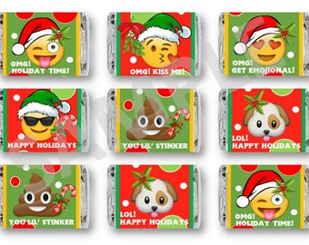 Emoji Christmas Miniature Chocolate Bar Favors or Wrappers for Holiday Party, School Party Favor