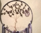 Reserved for Karen, Payment 6, Amethyst Tree of Life dreamcatcher is custom amethyst gemstones,copper,ribbons,handspun yarn,peacock feathers