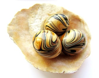 Lampwork Beads Caramel Brown Glass Beads Large Oval Beads 18 x 20 mm Lampwork beads Craft Supply Jewelry Findings 2 pcs.