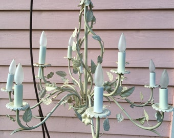 Off WHITE Large TOLE CHANDELIER 12 Light 12 Arm Chandelier Shabby Chic, Hollywood Regency, Paris Apartment at Ageless Alchemy