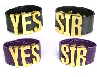 Harley Quinn Suicide Squad Cospla YES SIR Cuff Bracelets Replica, Costume, Cosplay, Halloween, HarleyQuinn, Suicide Squad- BIGLetters - Gold