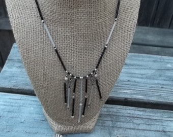 Black White Choker Dangles Silver Tone Bracelet Beads Sarah Coventry Clip Earrings 3 Piece Set