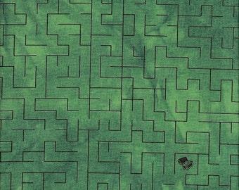Troy Riverwoods Fabric Rainforest Brown Maze on Green by Janine Burke