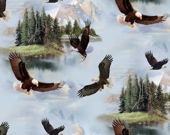 Elizabeth's Studio Fabric Majestic Bald Eagle On Blue Quilting Sewing Crafting 100% Cotton
