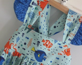 Finding Dory-Disney Dress-Characters&Coral Tide with coordinating royal blue dot border-Made to Order to size 8-Disney World Disneyland Nemo