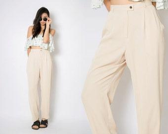 Vintage Dress Pants / Vintage Beige High Waisted Pants / Pleated Baggy Boyfriend Retro Dress Pants / Suit Pants / S