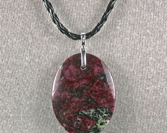 Two sides polished Eudialyte oval cabochon pendant drilled with leather necklace 40x30mm