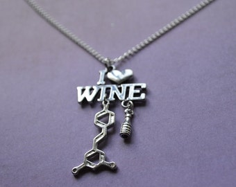 Biolojewelry -I <3 Wine Resveratrol Molecule Necklace