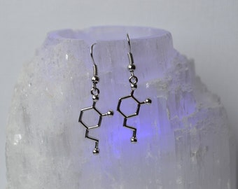 Biolojewelry - Dopamine Neurotransmitter Molecule Earrings