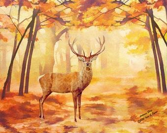 red deer print, animal print, animal art, nature print, nature art, animal wall art, wildlife art, wildlife print, wildlife photography,