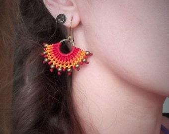 Red Macrame fairy earrings