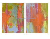 Abstract Original Oil Paintings Modern Minimalist Art Home Wall Decor Diptych set of two Bright colors Orange Pink Green Blue  contemporary