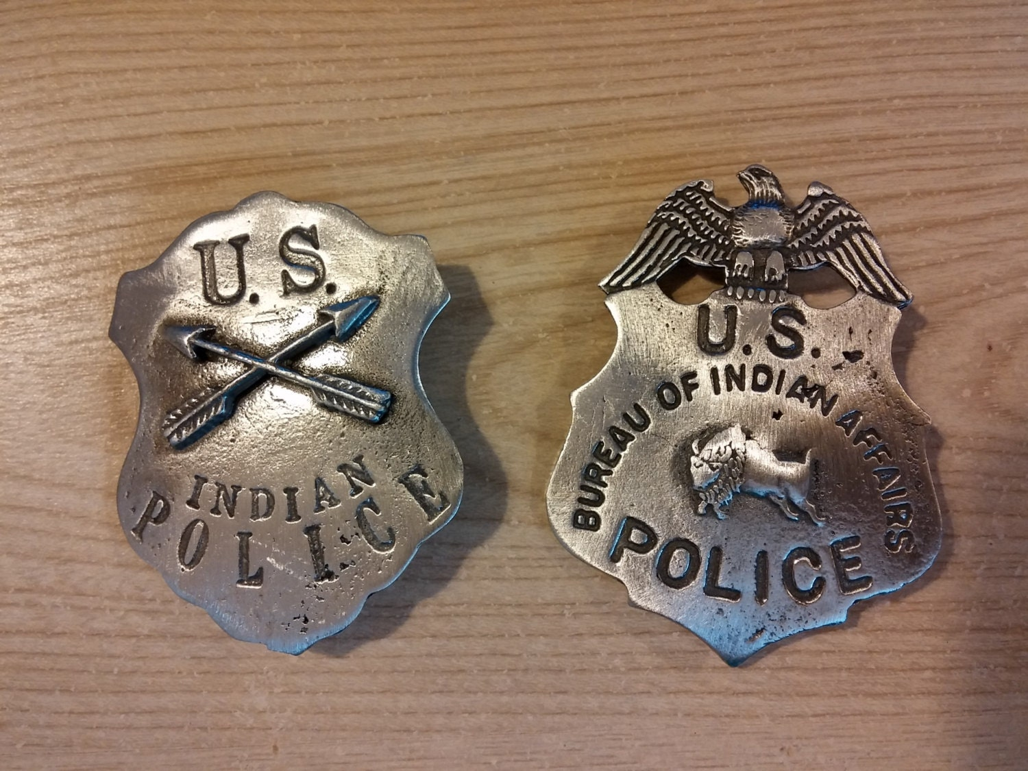 indian police and u s bureau of indian affairs badge with pin. Black Bedroom Furniture Sets. Home Design Ideas