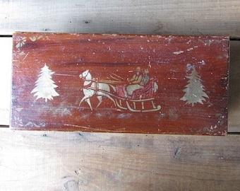 Stenciled Box Horse and Sleigh Vintage Christmas Scene
