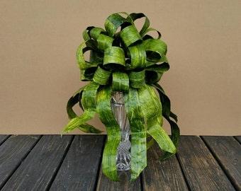 Christmas Tree Topper,  Green Paper Ribbon Tree Topper