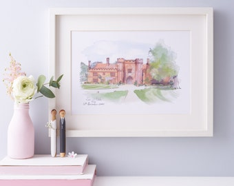 Wedding Venue Church Portrait - Wedding Gift Personalised Illustration