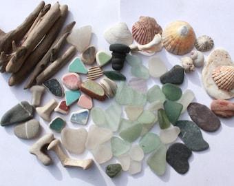 beach comber bag, driftwood sea pottery sea glass seaglass shells stopper supplies arts supply jewelry (lt408)