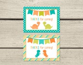 Favour Tags - Orange and Teal Dinosaurs - Instant Download