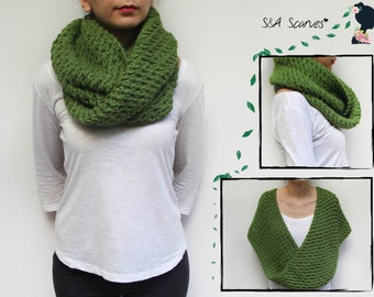 Circle Chunky Scarf, Top Crochet Knit, Present Top Womens, Christmas Cowl Gift, Fashion Chunky Cowl, Large Cowl Green, Warm Womens Top Snood