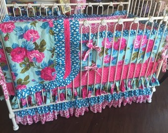 20% Ready To Ship Hot Pink Turquoise Aqua Floral Shabby Chic Custom Crib Bedding
