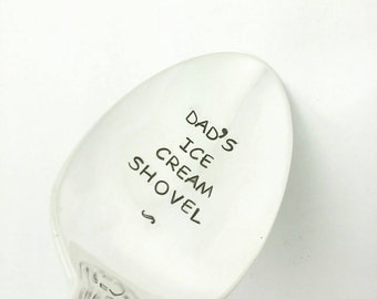 Dad's Ice Cream Shovel Stamped Spoon, Gift for Dad, Gift for Father, Gift for Grandpa, Gift for Papa