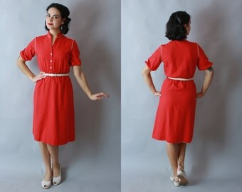 1980s-does-1950s RED DRESS | Vintage Shirtwaist Red and White Day Dress | small