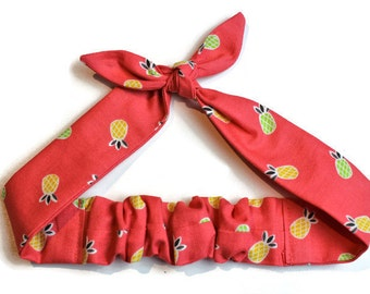 Pineapple, Knotted Hair Tie, Hair Wrap, Headband, Bandana, Hair Scarf, Baby, Child, Rockabilly, Made in Canada, Bow, Coral, Fruit, Summer