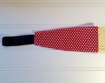 Little girl headband red & white polka dots