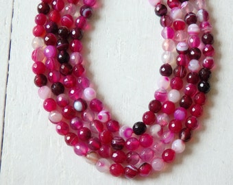 """Fuchsia agate beads - 6mm faceted agate beads in a range of bright pinks and purples - 15"""" strand, 6mm faceted round agate beads, gemstones"""