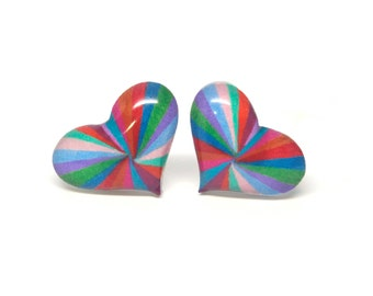 Stud earrings multicolor stripes hearts 15mm hand drawn ear posts