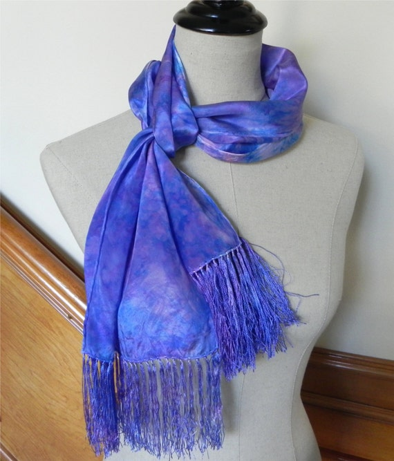 Long crepe silk scarf with fringe, hand dyed shades of blue, purple and magenta, ready to ship #438